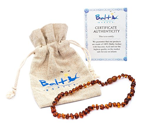 Baltic Amber Teething Necklace For Babies (Unisex) (Cognac) – Anti Flammatory, Drooling & Teething Pain Reduce Properties – Natural Certificated Oval Baltic Jewelry with the Highest Quality Guaranteed