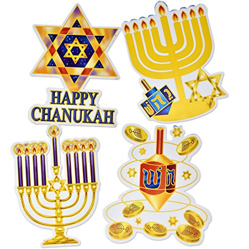 Gift Boutique Hanukkah Window Clings Decorations Menorah, Star of David, Happy Chanukah, and Dreidel, Pack of 4 Banners