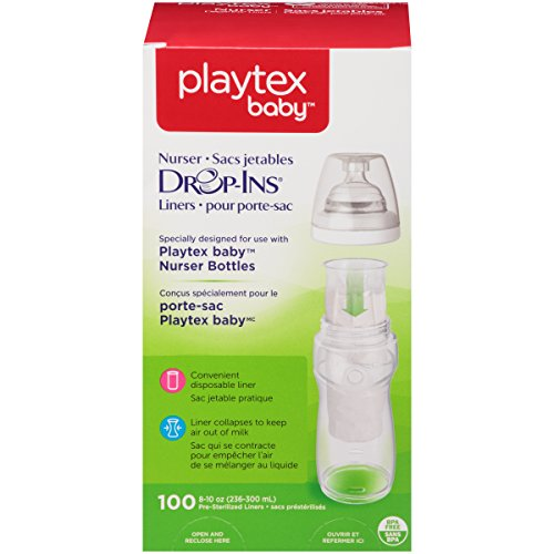 Playtex Baby Nurser Drop-Ins Baby Bottle Disposable Liners, Closer to Breastfeeding, 8 Ounce – 100 Count