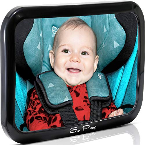 Baby Backseat Mirror for Car – View Infant in Rear Facing Car Seat – Lifetime Satisfaction Guarantee – Newborn Safety with Secure Headrest Double-Strap – Essential Car Seat Accessories