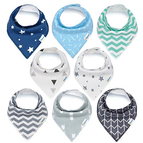 Baby Bandana Drool Bibs, Unisex 8-Pack Gift Set for Drooling and Teething, Organic Cotton, Soft and Absorbent, Hypoallergenic – for Boys and Girls by KiddyStar (8 Pack)