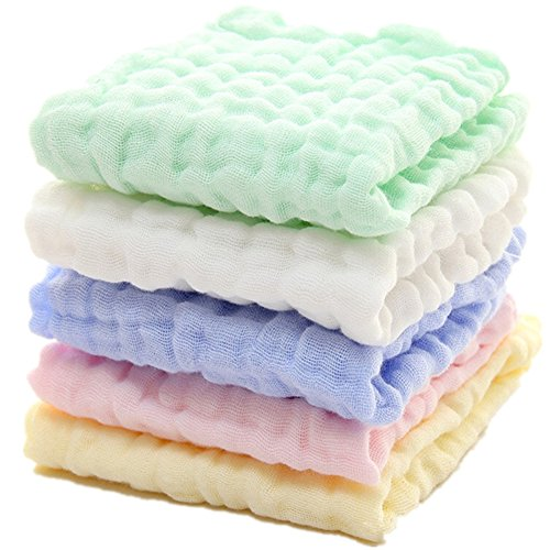 Baby Muslin Washcloths – Natural Muslin Cotton Baby Wipes – Soft Newborn Baby Face Towel and Muslin Washcloth for Sensitive Skin- Baby Registry as Shower Gift, 5 Pack 12×12 inches by MUKIN