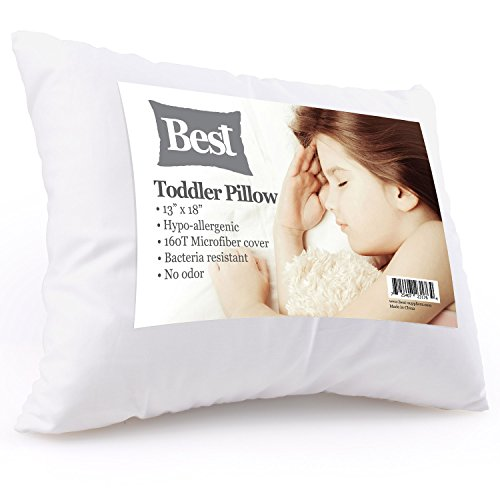 Best Toddler Pillow (INCREDIBY SOFT – 100% HYPOALLERGENIC) No Pillowcase Needed! Allergy Free – White Microfiber Finish 13×18 – Provides Great Back & Neck Support for Any Toddler, Kid, or Child