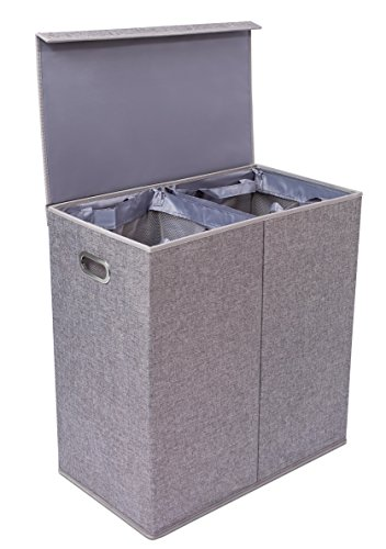 BirdRock Home Double Laundry Hamper with Lid and Removable Liners – Linen Hampers – Grey Foldable Bin – Easily Transport Clothes – Cut Out Handles – Clothes Basket