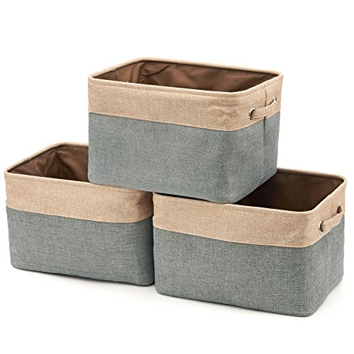 Collapsible Large Storage Bins Basket [3-Pack] EZOWare Canvas Fabric Tweed Storage Organizer Cube Set W/Handles for Nursery Kids Toddlers Home and Office – Brown and Gray / 15 L x 10.5 W x 9.4 H