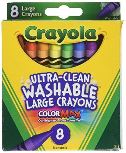 Crayola Washable Crayons, Large, 8 Colors – 2 Packs