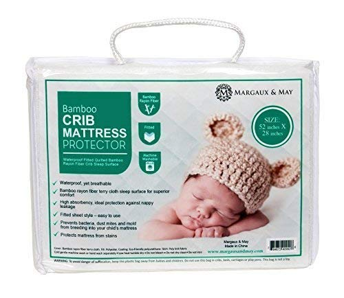 Crib Mattress Protector Pad – Waterproof, Ultra Soft – Dryer Friendly – Deluxe Bamboo Rayon by Margaux & May – Fitted Quilted Mattress Protector Pad for Crib – Absorbent Stain Protection Baby Cover