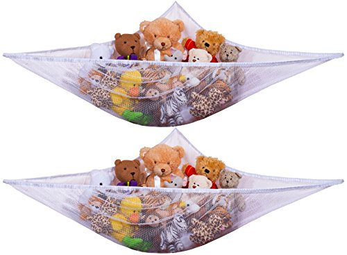 Jumbo Toy Hammock, White – Organize Stuffed Animals and Children's Toys with this Mesh Hammock. Great Decor while Neatly Organizing Kid's Toys and Stuffed Animals. Expands to 5.5 feet. (2-Pack)