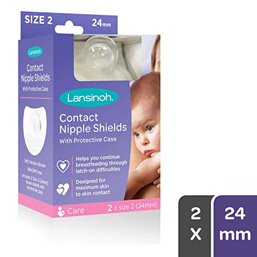 Lansinoh Contact Nipple Shield with Carrying Case, Size 2 (24 Milimeters) 2 Count, Large Size Nipple Protector for Breastfeeding, Latch Guard, Nursing Essentials