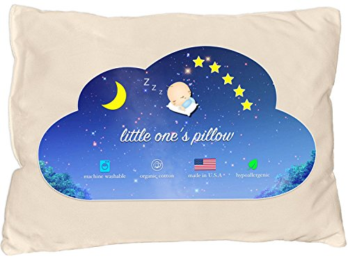 Little One's Pillow – Toddler Pillow, Delicate Organic Cotton Shell, Handcrafted in USA – Soft Yet Supportive, Washable 13 X 18