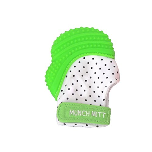 Malarkey Kids Munch Mitt Teething Mitten – The ORIGINAL Mom-Invented Silicone Teether Mitten with Travel Bag – Ideal Teething Toys for Baby Shower Gift – Green Polka Dot