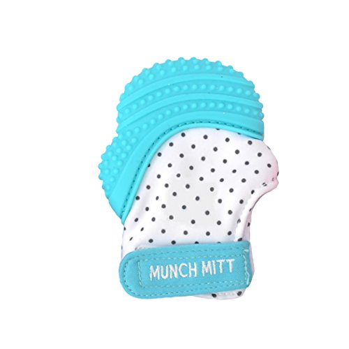 Malarkey Kids Munch Mitt Teething Mitten – The ORIGINAL Mom-Invented Silicone Teether Mitten with Travel Bag – Ideal Teething Toys for Baby Shower Gift – Aqua Polka Dot