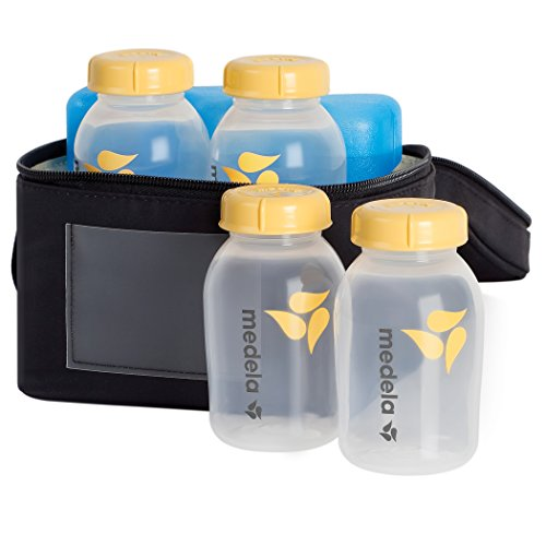 Medela Breast Milk Cooler and Transport Set, 5 ounce Bottles with Lids, Contoured Ice Pack, Cooler Carrier Bag