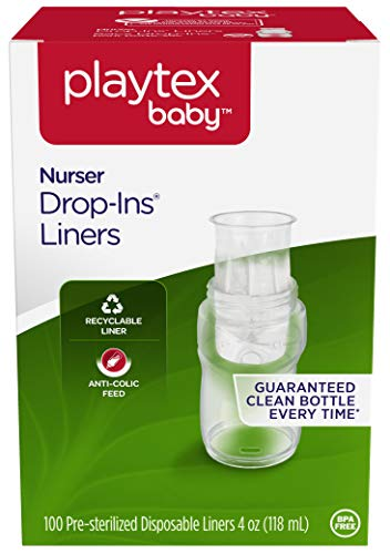 Playtex Baby Nurser Drop-Ins Baby Bottle Disposable Liners, Closer to Breastfeeding, 4 Ounce – 100 Count