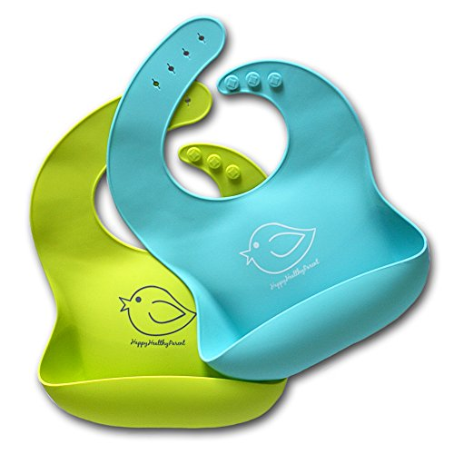 Silicone Baby Bibs Easily Wipe Clean – Comfortable Soft Waterproof Bib Keeps Stains Off, Set of 2 Colors (Lime Green/Turquoise)