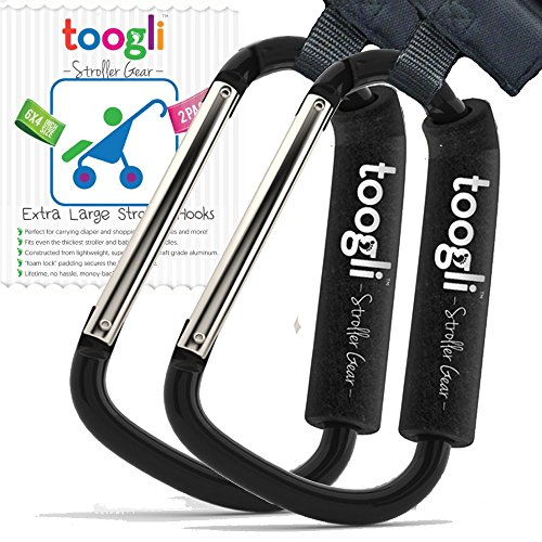 The BETTER XL Stroller Hook Set By Toogli. Two Great Organizer Baby Accessories for Any Mommy or Daddy. Hangs Diaper/Shopping Bags, Purses and More. Clip Even Fits Uppababy Vista and Uppababy Cruz.