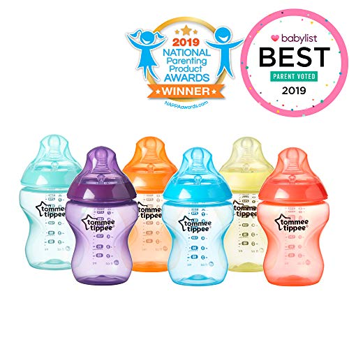 Tommee Tippee Closer to Nature Fiesta Fun Time Baby Feeding Bottles, Anti-Colic Valve, Breast-Like Nipple for Natural Latch, Slow Flow, BPA-Free – 9 Ounces, Multi-Colored, 6 Pack