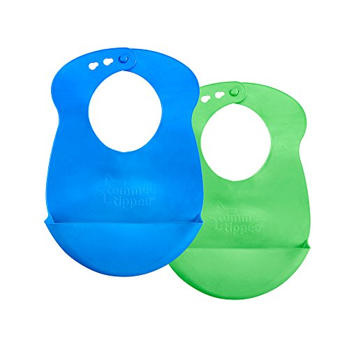 Tommee Tippee Easi-Roll Up Bib, BPA-Free Crumb & Drip Catcher, Blue & Green, 2 Count