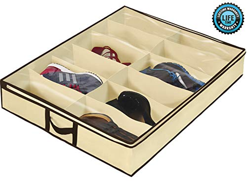 Ziz Home Under Bed Shoe Organizer for Kids and Adults (12 Pairs) – Underbed Shoes Closet Storage Solution – Made of Breathable Materials with Front Zippered Closure – Easy to Assemble