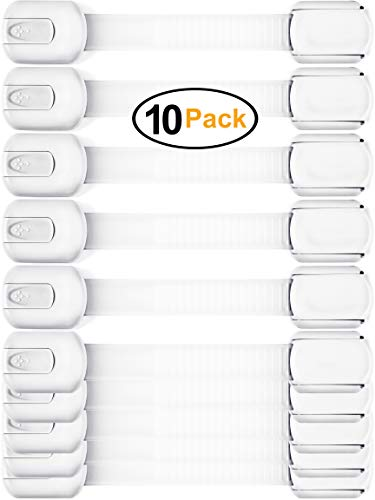 Baby Safety Cabinet Locks – Value Pack (10 Straps) to Baby Proof Cabinets, Drawers, Toilet, Fridge & More – Easy to Use & Easy to Install Child Safety Locks with 3m Adhesive – No Tools Needed (White)