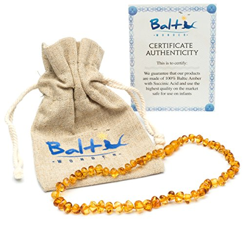 Baltic Amber Teething Necklace For Babies (Unisex) (Honey) – Anti Flammatory, Drooling & Teething Pain Reduce Properties – Natural Certificated Oval Baltic Jewelry with the Highest Quality Guaranteed