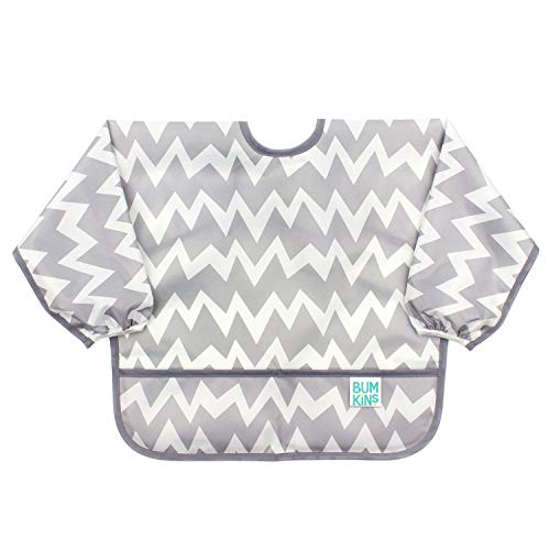 Bumkins  Sleeved Bib / Baby Bib / Toddler Bib / Smock, Waterproof, Washable, Stain and Odor Resistant, 6-24 Months  – Gray Chevron