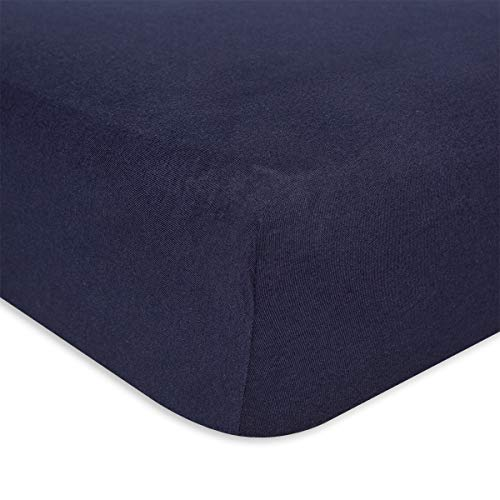 Burt's Bees Baby – Fitted Crib Sheet, Boys Solid Color, 100% Organic Cotton Crib Sheet for Standard Crib and Toddler Mattresses (Navy Blue)