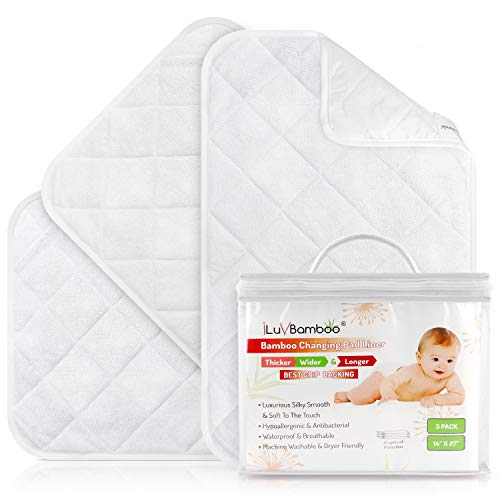 Changing PAD Liners Best for Baby Diaper Changing Table, Extra Soft Bamboo, White Waterproof Liner Cover Mat, Portable & Durable Travel Pads, Pack of 3, Baby Shower Gift Ideas