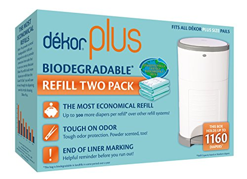 Dekor Plus Diaper Pail Biodegradable Refills | 2 Count | Most Economical Refill System | Quick and Simple to Replace | No Preset Bag Size – Use Only What You Need | Exclusive End-of-Liner Marking