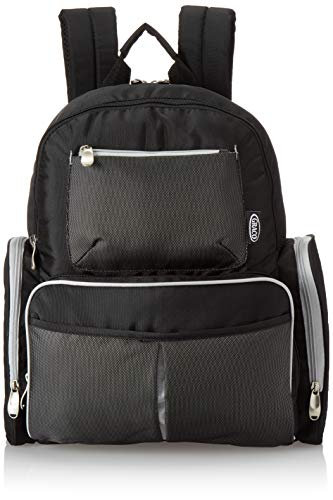Graco Gotham Smart Organizer System – Baby Diaper Bag Backpack – Large, Roomy Bag with Wipeable Changing Pad –  Black and Grey