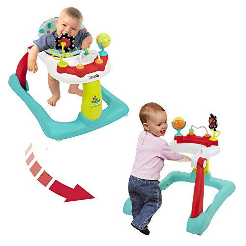 Kolcraft Tiny Steps 2-in-1 Activity Toddler and Baby Walker – Seated or Walk-Behind, Jubliee