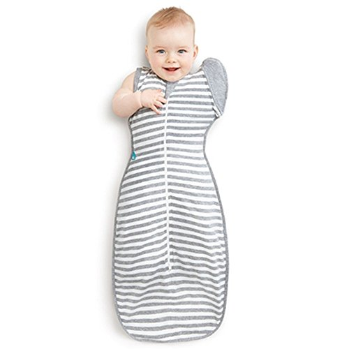 Love To Dream Swaddle UP 50/50 Transition Bag, Gray, Large, 18.5-24 lbs, Patented Zip-Off Wings, Gently Help Baby Safely Transition from Being swaddled to arms Free Before Rolling Over