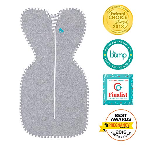 Love To Dream Swaddle UP, Gray, Medium, 13-18.5 lbs, Dramatically Better Sleep, Allow Baby to Sleep in Their Preferred arms up Position for self-Soothing, snug fit Calms Startle Reflex