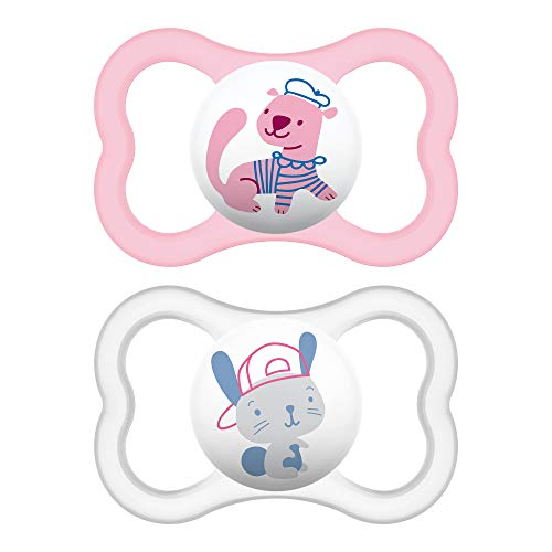 MAM Sensitive Skin Pacifiers, Baby Pacifier 6+ Months, Best Pacifier for Breastfed Babies, 'Air' Design Collection, Girl, 2-Count