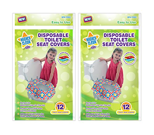 Mighty Clean Baby Large Disposable Toilet Seat Covers – Portable Potty Seat Covers for Toddlers, Kids, and Adults – 24 Count (2 Packs of 12 Covers)