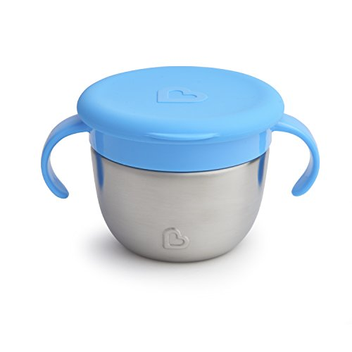 Munchkin Stainless Steel Snack Catcher with Lid, 9 Ounce, Blue
