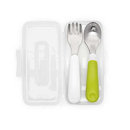 OXO Tot On-The-Go Fork & Spoon Set with Carrying Case, Green