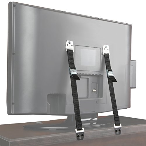 Safety Baby Metal Furniture / TV Straps – Earthquake Proof – Bolts & Hardware Included (2 Pack)