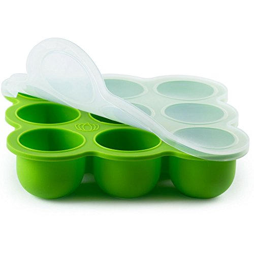 Silicone Baby Food Freezer Storage Tray – Clip-On Silicone Lid – 9 Cups x 2.5 Oz – BPA Free & FDA Approved – Oven & Dishwasher Safe – with Baby Weaning E-Books (GRN)
