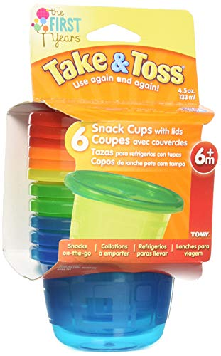The First Years Take & Toss Snack Cups – 4.5 Ounce, 6 Pack