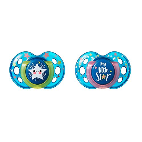 Tommee Tippee Closer to Nature Night Time Toddler Soothie Pacifier, 18-36 Months – 2 Count (Colors May Vary)
