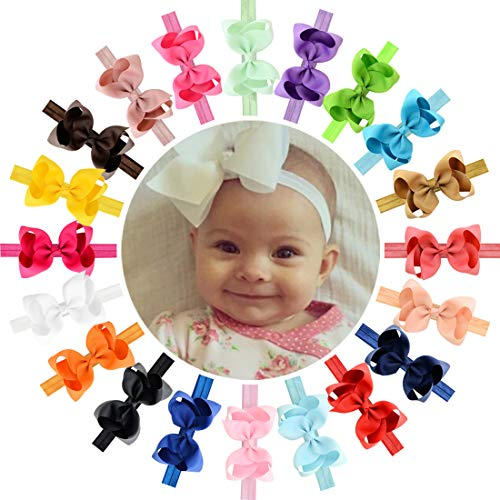WillingTee 4.5 inches Grosgrain Ribbon Hair Bows Headbands for Baby Girls Infants and Toddlers 20 pieces