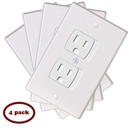 Ziz Home Self-Closing Outlet Covers | 4 Pack | White | Universal Electric Outlet Cover – Baby Proof Kit – Child Safety Wall Socket Plug – Durable ABS Plastic – Protection | Proofing | Childproof