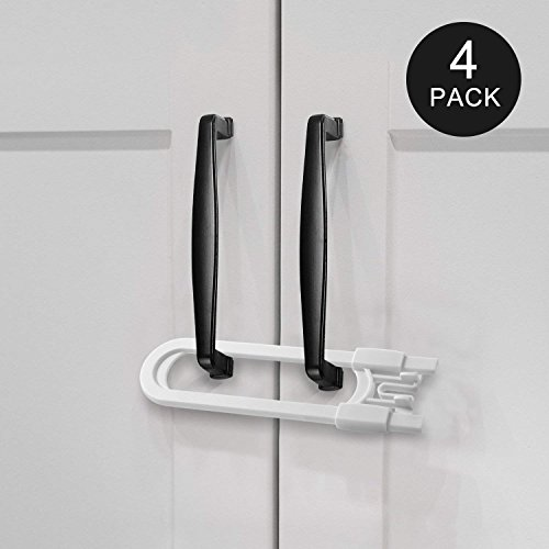 Adoric Sliding Cabinet Locks, U Shaped Baby Safety Locks, Childproof Cabinet Latch for Kitchen Bathroom Storage Doors, Knobs and Handles (4-Pack, White)
