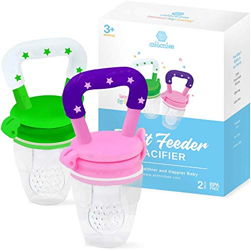 Baby Fruit Feeder Pacifier (2 Pack) – Fresh Food Feeder, Infant Fruit Teething Toy, Silicone Pouches for Toddlers & Kids by Ashtonbee