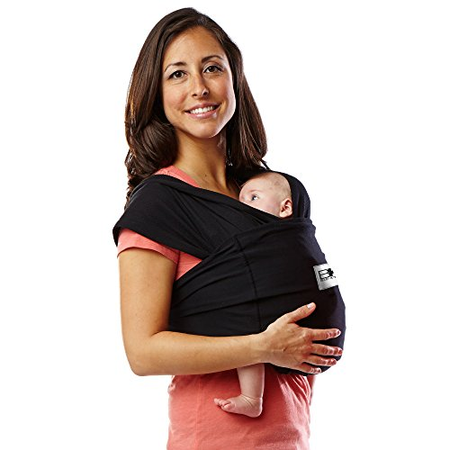 Baby K'tan Original Baby Wrap Carrier, Infant and Child Sling – Simple Wrap Holder for Babywearing – No Rings or Buckles – Carry Newborn up to 35 lbs, Black, S (W dress 6-8 / M jacket 37-38)