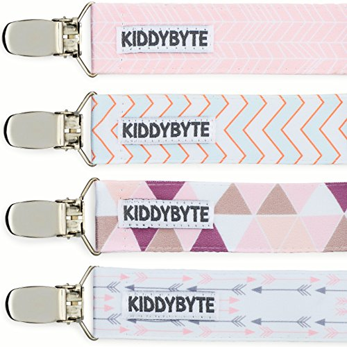Baby Pacifier Clip Holder for Girl – 4 Pack Teething Clips for Babies, Perfect for Binky, Soothie & Stuffed Animal Toys