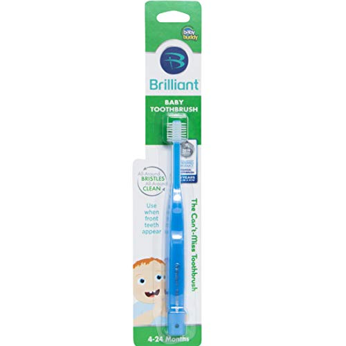 Brilliant Baby Toothbrush by Baby Buddy – for Ages 4-24 Months, BPA Free Super-Fine Micro Bristles Clean All-Around Mouth, Kids Love Them, Blue, 1 Count