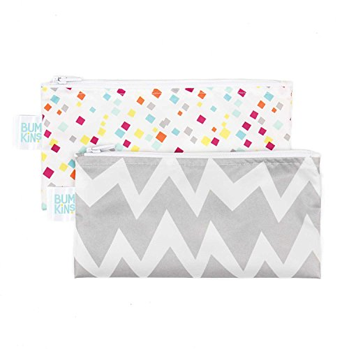 Bumkins Snack Bags, Reusable, Washable, Food Safe, BPA Free, 2-Pack – Gray Chevron & Confetti