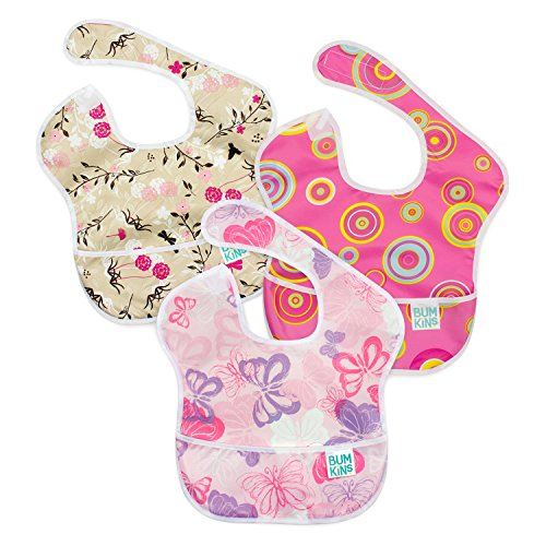 Bumkins SuperBib, Baby Bib, Waterproof, Washable, Stain and Odor Resistant, 6-24 Months, 3-Pack – Pink Fizz, Butterfly, Flutter Floral